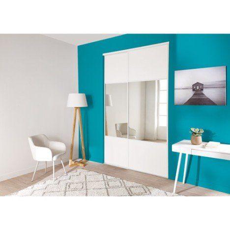 Lot De 2 Portes De Placard + Rail Coulissante Blanc Et Miroir L.120 X