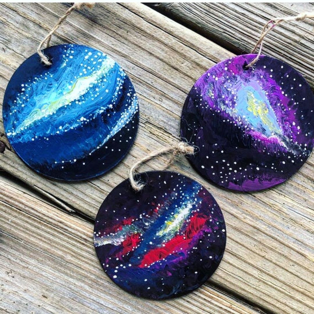 Galaxy ornaments for your tree sets of 3 in stock now Each is an original work of art