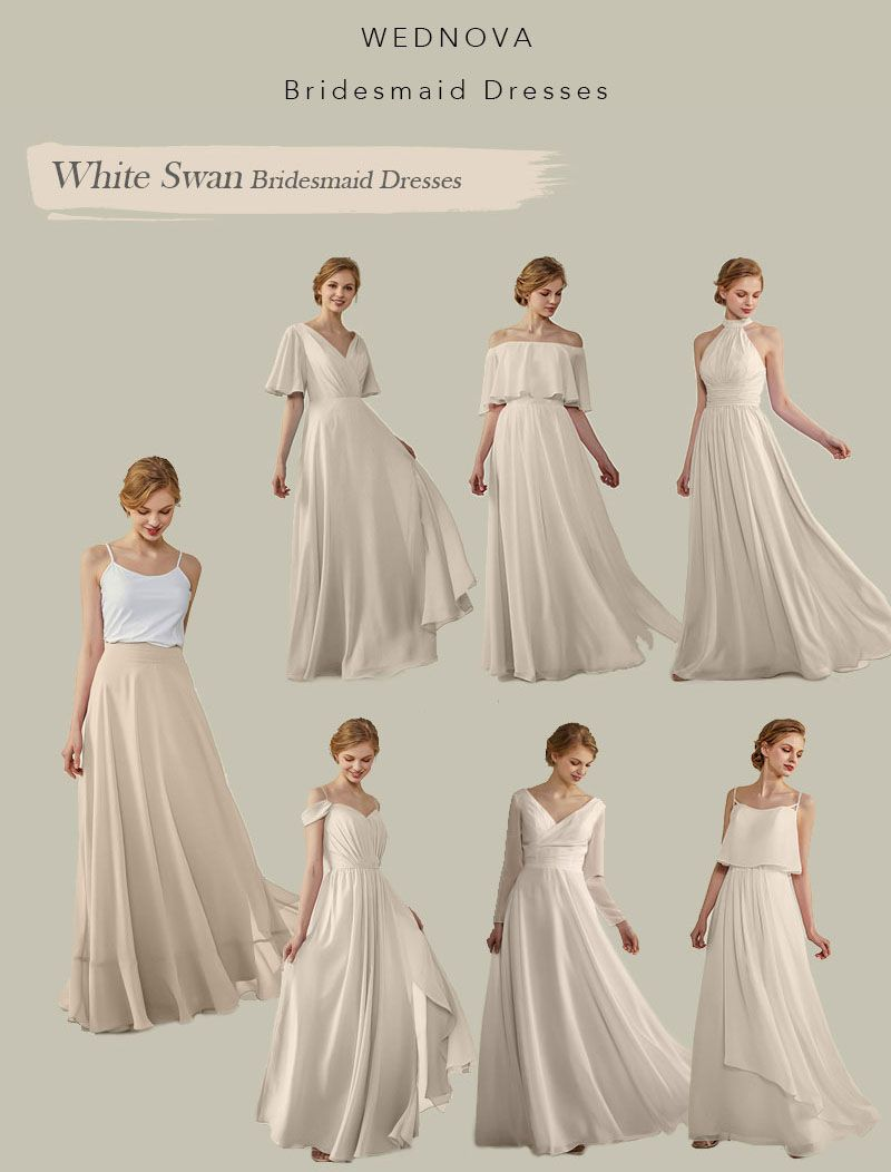 Beautiful white swan skirt cold shoulder bridesmaid dress chiffon a