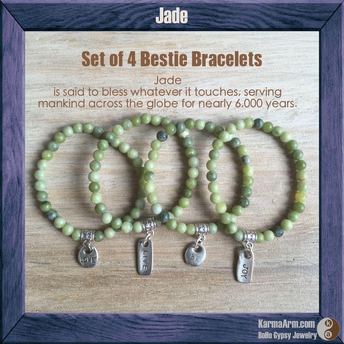 HARMONY: Jade Yoga Mala Bracelet - S/4 JOY + LOVE + LIVE + BE Charms