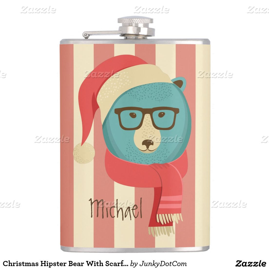 Christmas Hipster Bear With Scarf Illustration Flasks - Dec 2