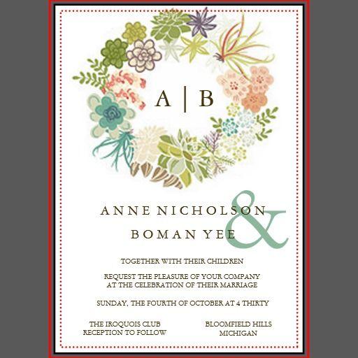 succulent watercolor wedding invitation weddings