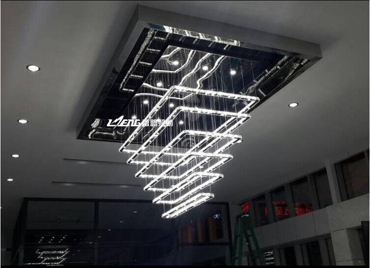 Pas cher Moderne de luxe carré haute puissance LED lustre salon en