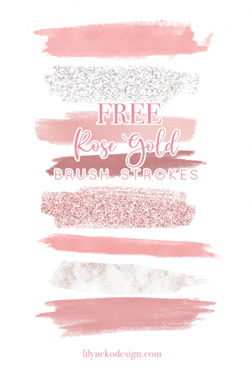 Free Rose Gold Brush Stroke Elements Rose Gold Brushes Free Design Elements Planner Stickers