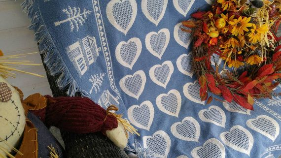 Vintage Woven Throw Home is Where The Heart by ChaseyblueVintage