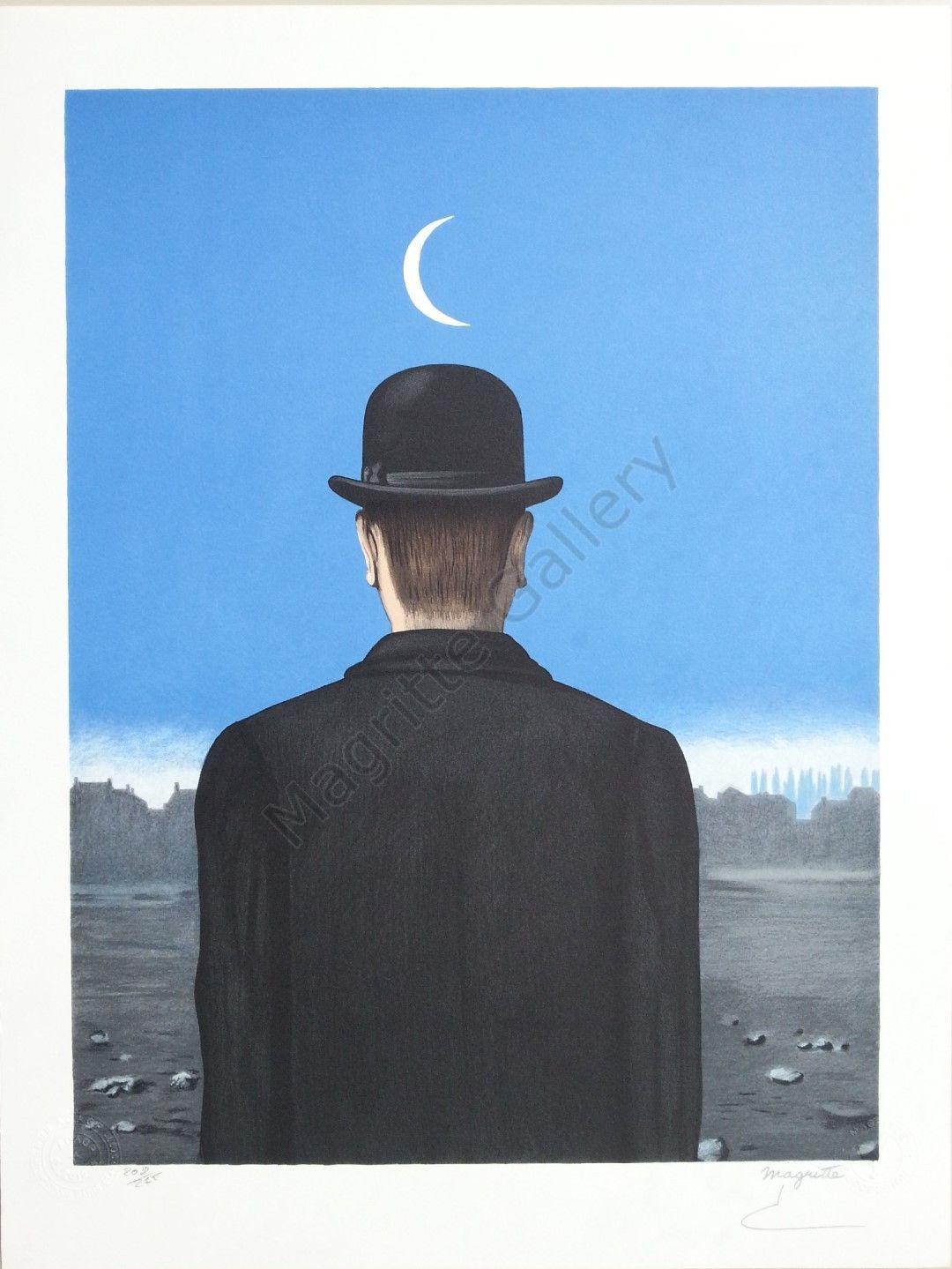 Le Ma Tre D école Lithographie René Magritte 60 X 40 Cm Color