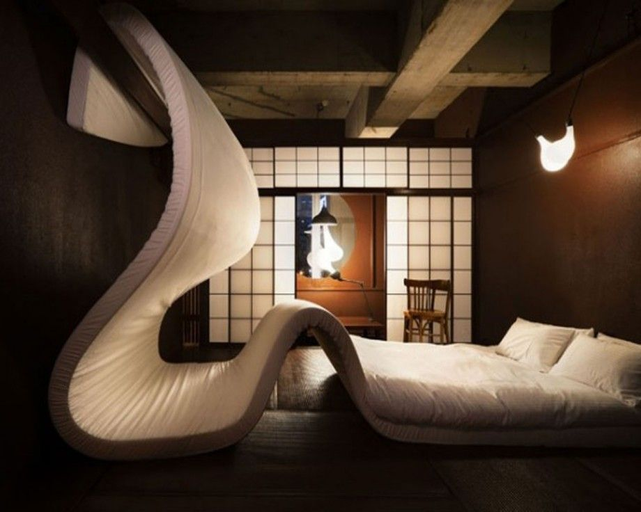 via love themed hotel in tokyothis mattress gone mad undulates over a hotel room at the llove pop up hotel in tokyo this is so cool - Beaded Inset Hotel Decoration