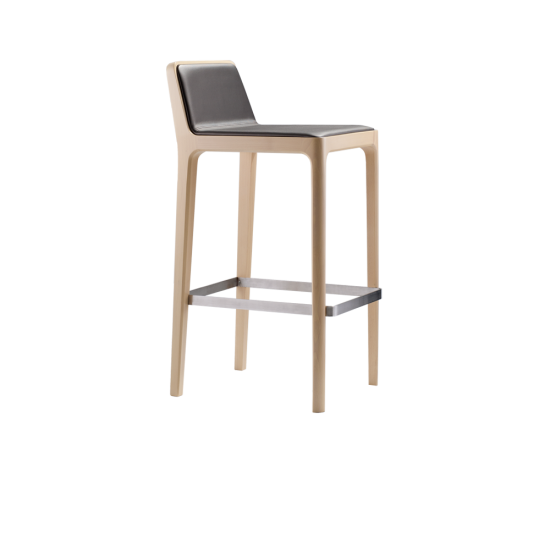 Tip Tap designed by #claudioperin  Stool with upholstered seat and back and covered in fabric or leather. Structure in beech wood. All elements in wood are connected, the chair does not have connections to corner. Metal footrest.  #tekhne