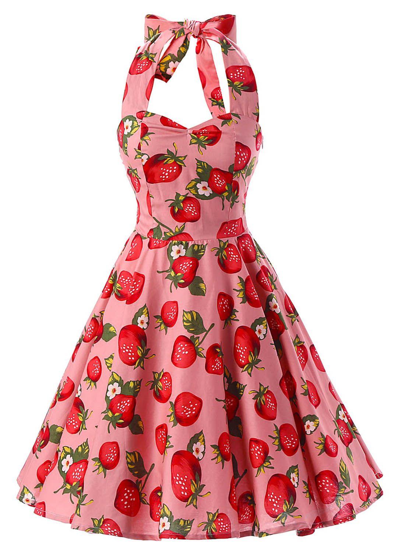 Vintage Strawberry Print Halter A-line Dress - OASAP.com in 2019 ... 199d4d331cd7