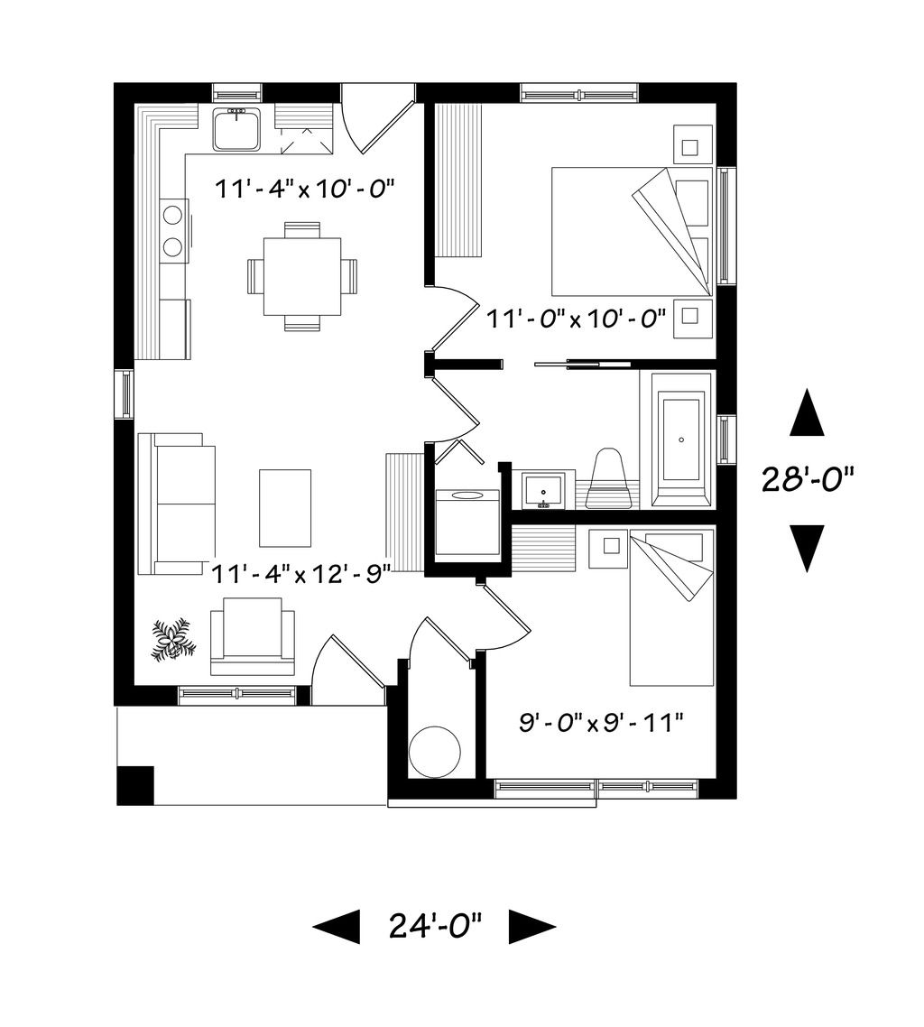 Contemporary Style House Plan 2 Beds 1 Baths 629 Sq Ft Plan 23 2299 Bungalow Floor Plans Cottage Style House Plans Cottage House Plans