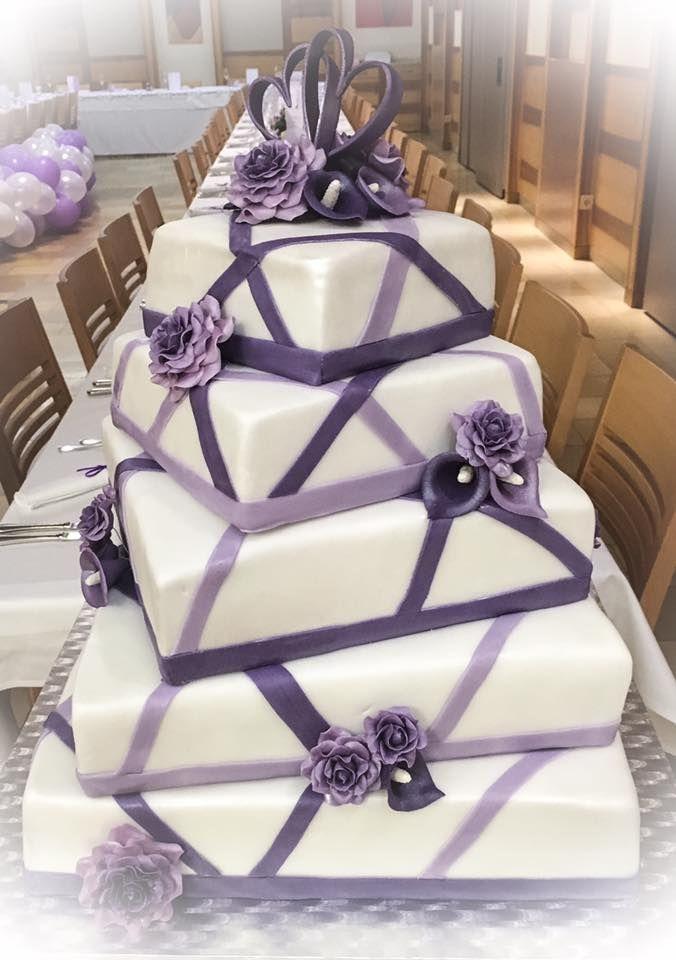 Hochzeitstorte lila ombre Rosen Calla Fondant Weddingcake purple