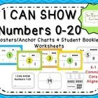 """Included in this packet:  Blue poster set of numbers 0-20 Green poster set of numbers 0-20 Orange poster set of numbers 0-20 Yellow poster set of numbers 0-20 White poster set of numbers 0-20 1 Cover sheet """"I Can Show Numbers 0-20"""" 1 Cover sheet """"I Can Show Numbers 1-20"""" Blank Worksheet set 0-20 Cut and Paste Worksheet 0-20 5 Mini Assessment Worksheets (Write the number that represents the number of objects)"""