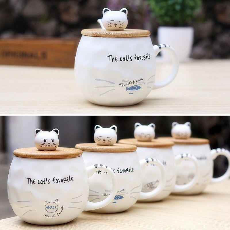 2857386b37e Cat and Fish Animal Ceramic Mug with Spoon and Wooden Cover Creative Coffee  Porcelain Tea Cup #creativemug #coffeecupart #cutemugs #giftmugs #coffelover