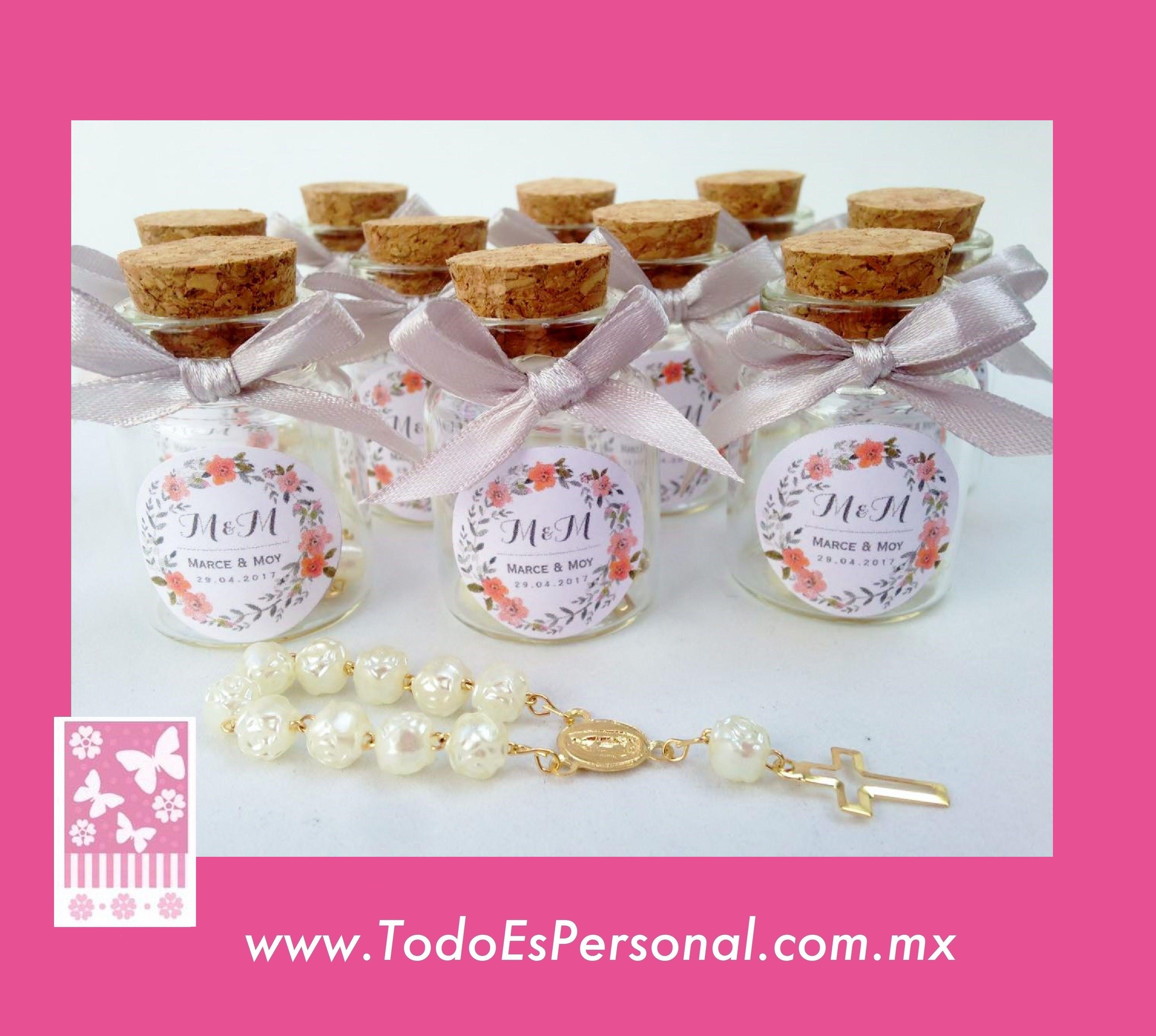 decenarios botella cristal frasco playa liston frasquito corcho recuerdo boda xv años flores vintage