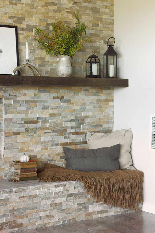 Decorating Living Room With Fireplace the evolution of our living room fireplace { more fall decorating