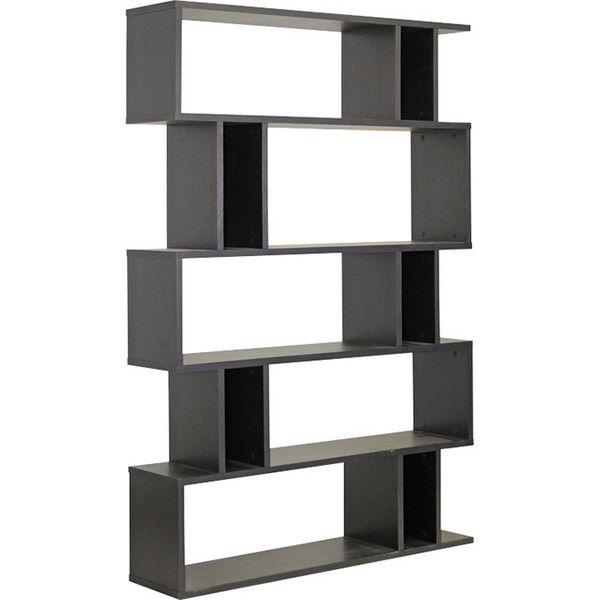 Dot Bo Rectangular Modern Bookshelf In Dark Brown 289 Liked On Polyvore
