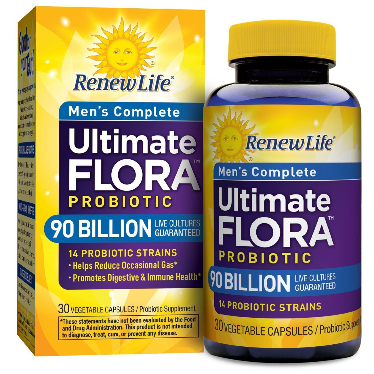 Renew Life Ultimate Flora Probiotic Men S Complete 90 Billion 30 Vegetable Capsules Probiotics Supplement Probiotics Renew Life
