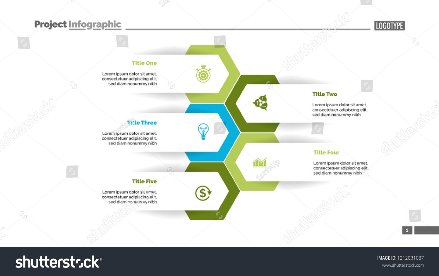 Five Options Process Chart Slide Template Business Data