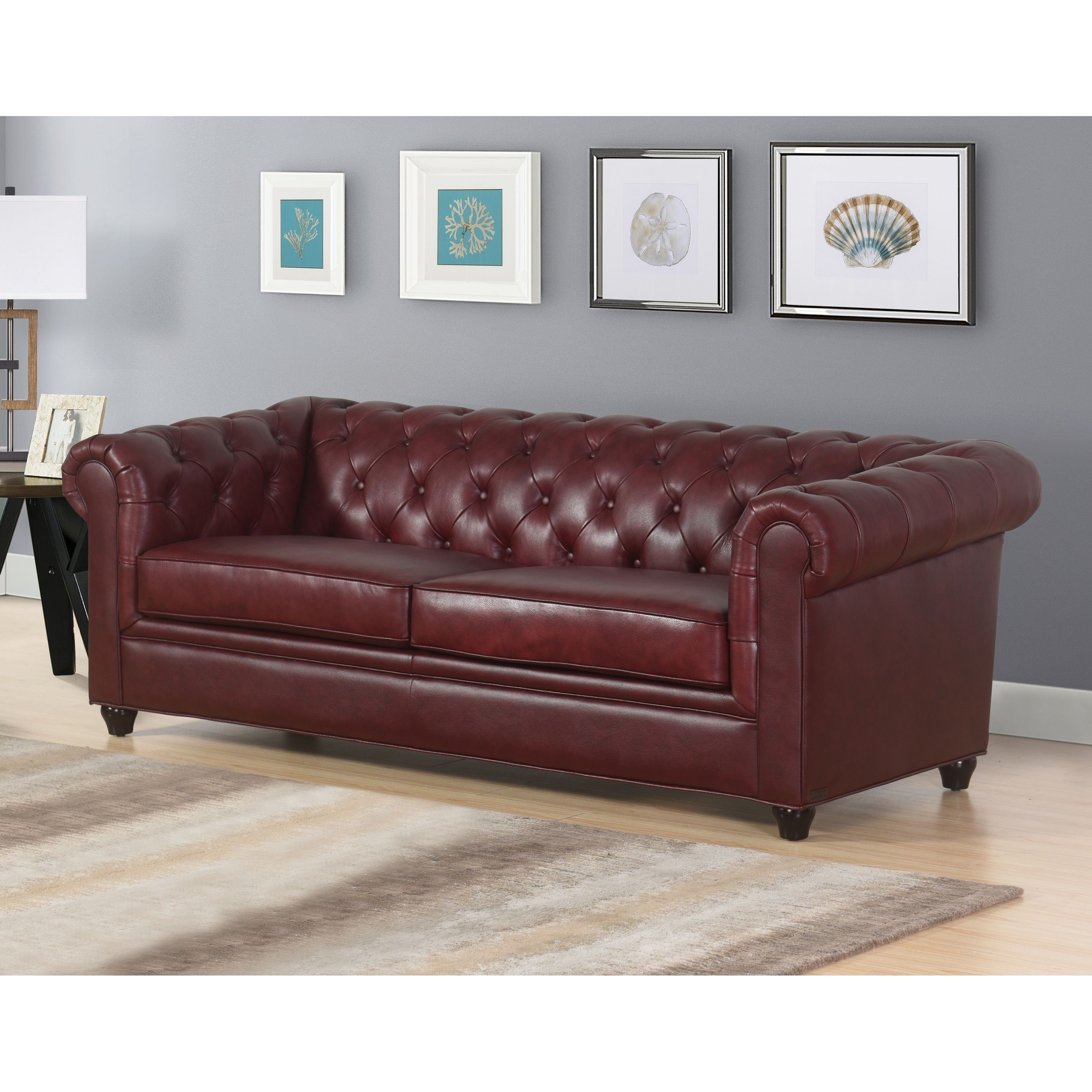 Abbyson Tuscan Top Grain Leather Chesterfield Sofa Burgundy Red