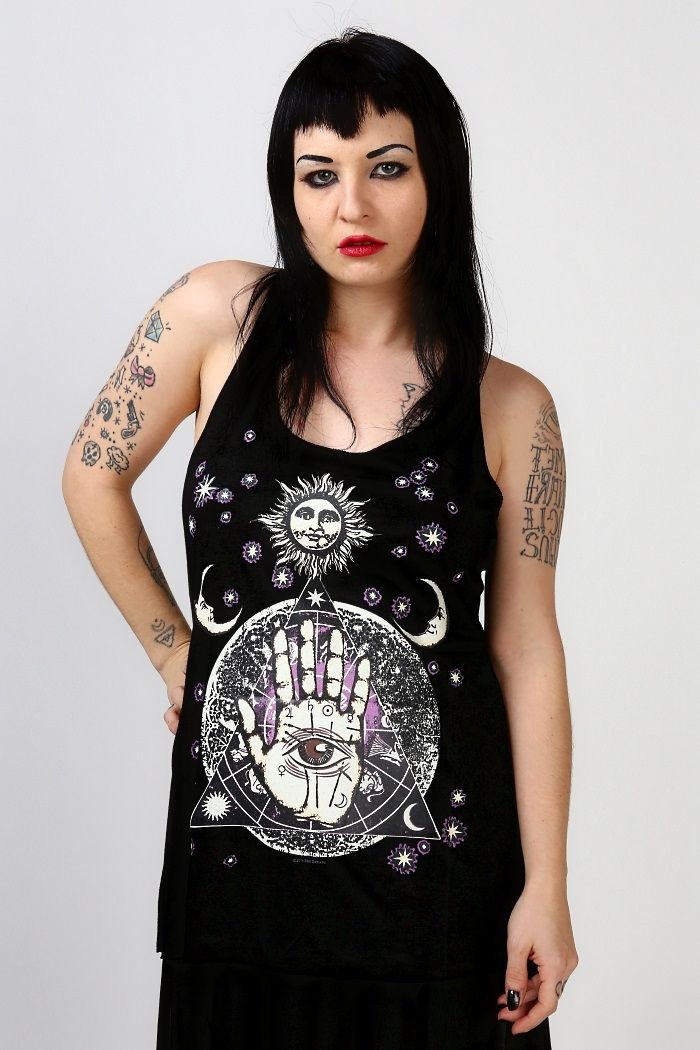 Soft Cozy Black Palmistry Racerback Tank Top Fit Note This Top