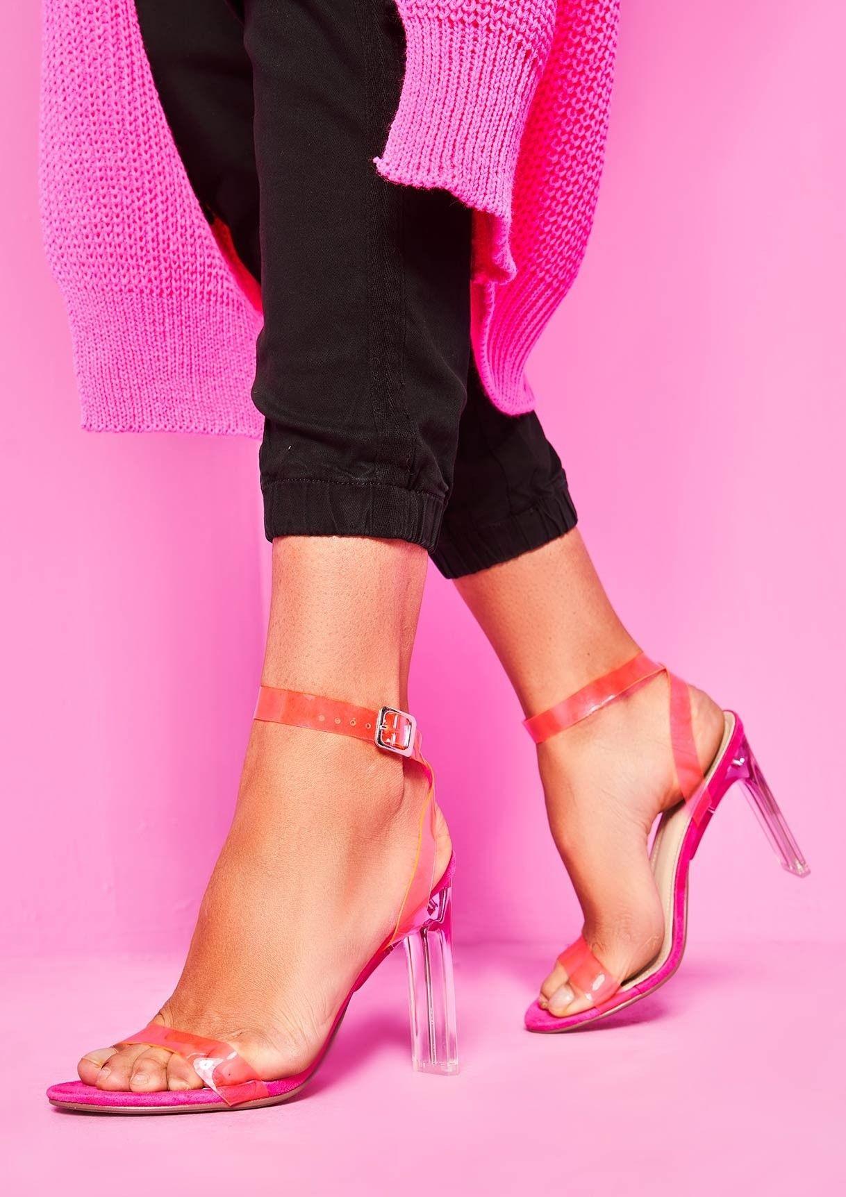 ea443b0eecee Missyempire - Dolly Pink Faux Suede Neon Perspex Heels