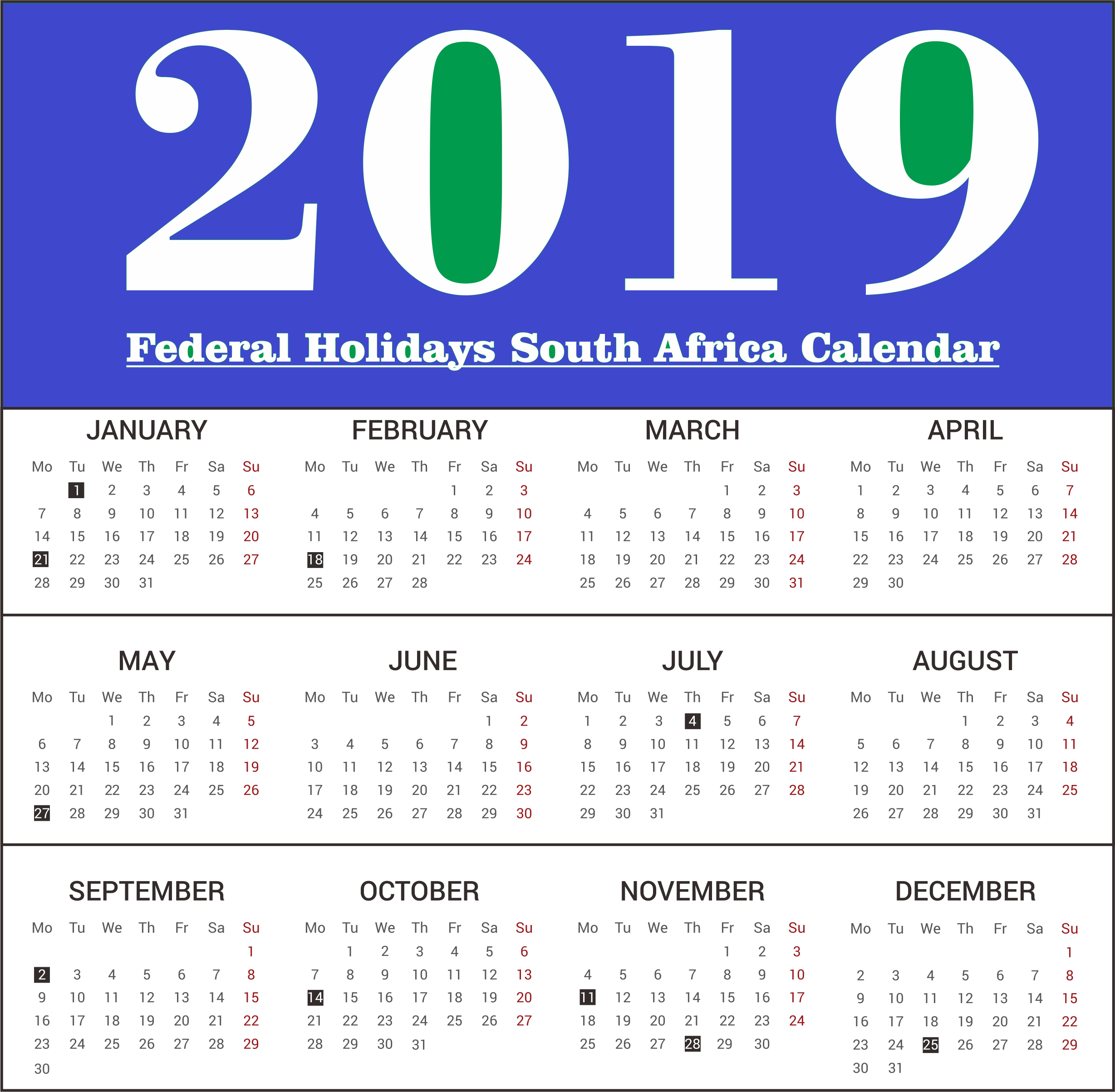 2019 South Africa Federal Holidays Calendar southafrica