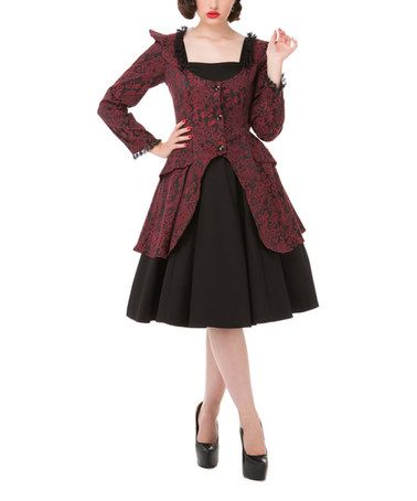 Another great find on #zulily! Wine & Black Victorian Jacket & Dress - Women & Plus #zulilyfinds