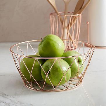 Copper Wire Kitchen Fruit Bowl #westelm