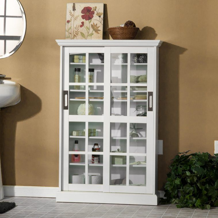 Furniture. White Wooden Bathroom Cabinet With Sliding ...