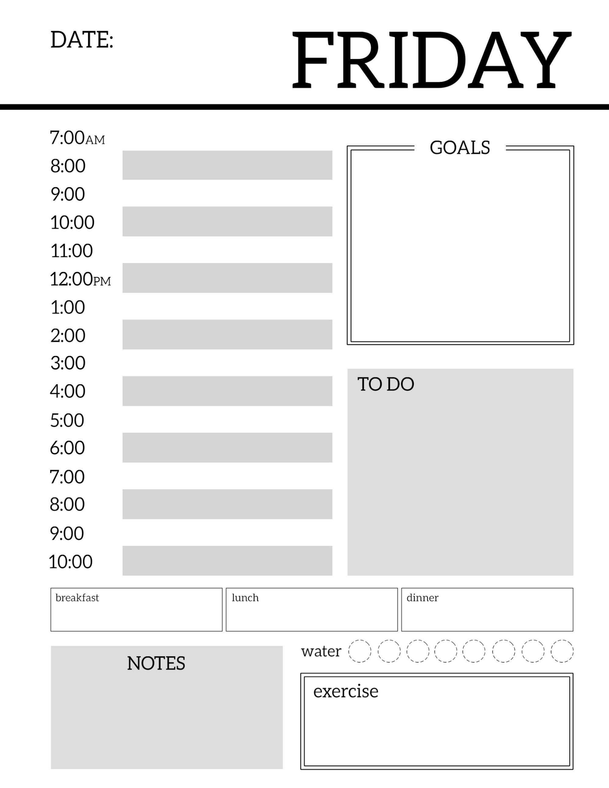 Daily Planner Printable Template Sheets div Pinterest