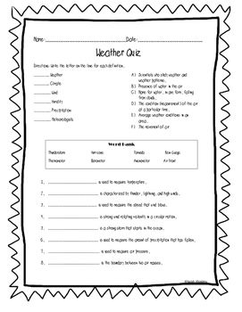 Weather Quiz 1 Weather Quiz First Grade Weather Weather Words