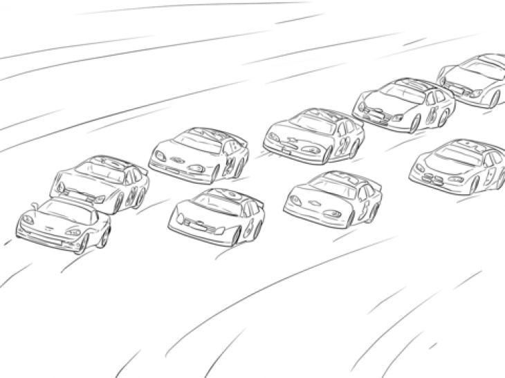 A Lot Of Nascar Cars Racing On The Hot Track Coloring Page Cars