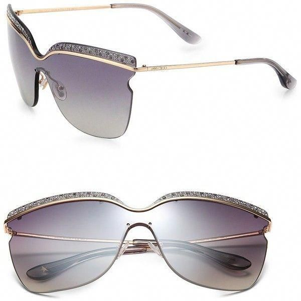 2c5e1d98f98 Jimmy Choo Rhinestone-Trimmed Visor Sunglasses ( 340) ❤ liked on Polyvore  featuring accessories