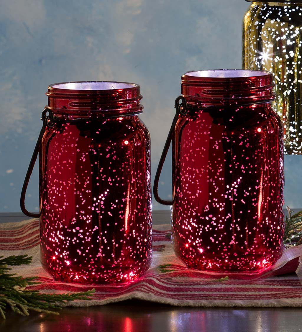 Lighted Mercury Glass Mason Jars Set Of 2 Glass Mason Jars