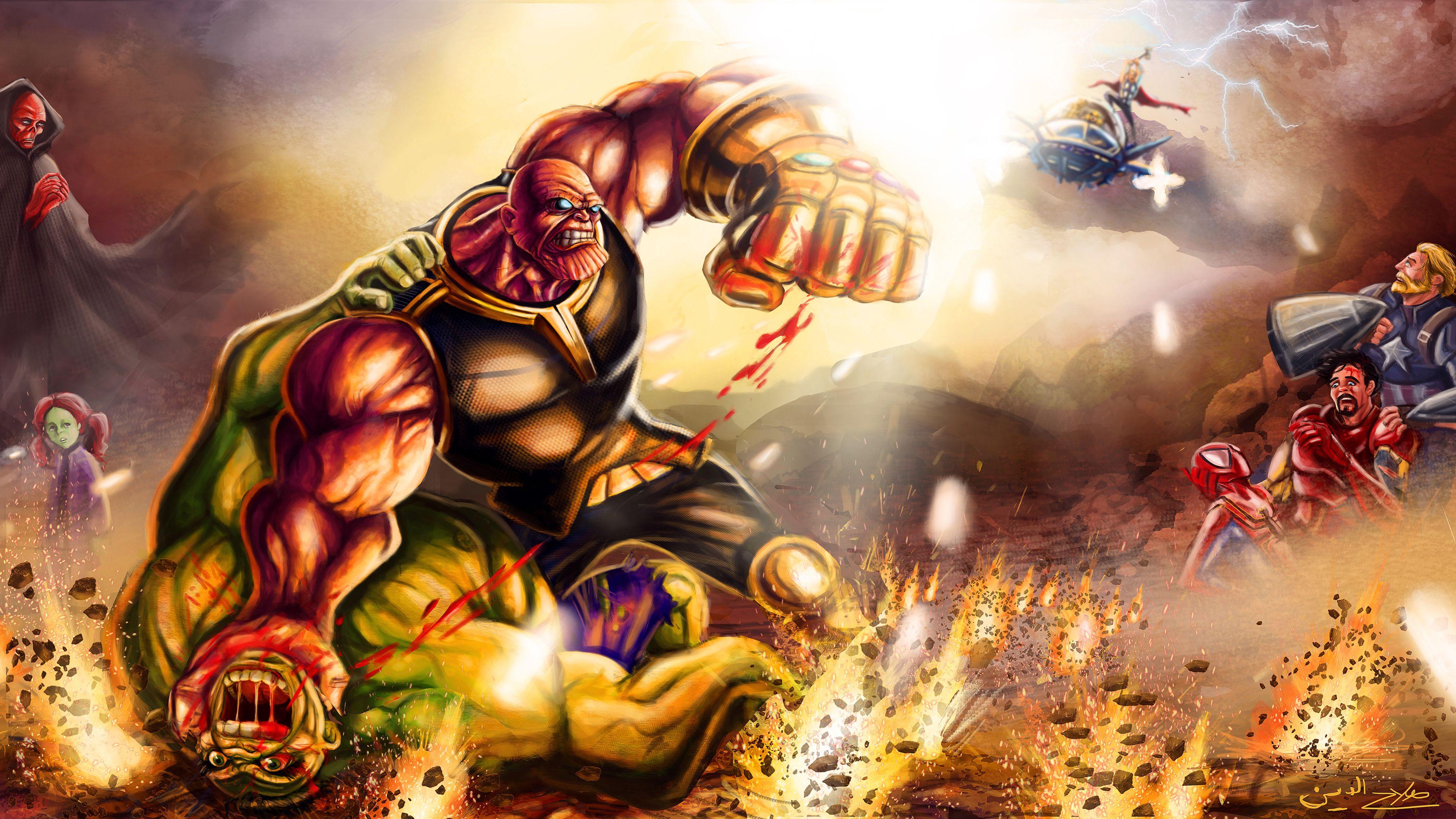 Wallpaper 4k Thanos Defeat Hulk 4k Wallpapers Artist Wallpapers