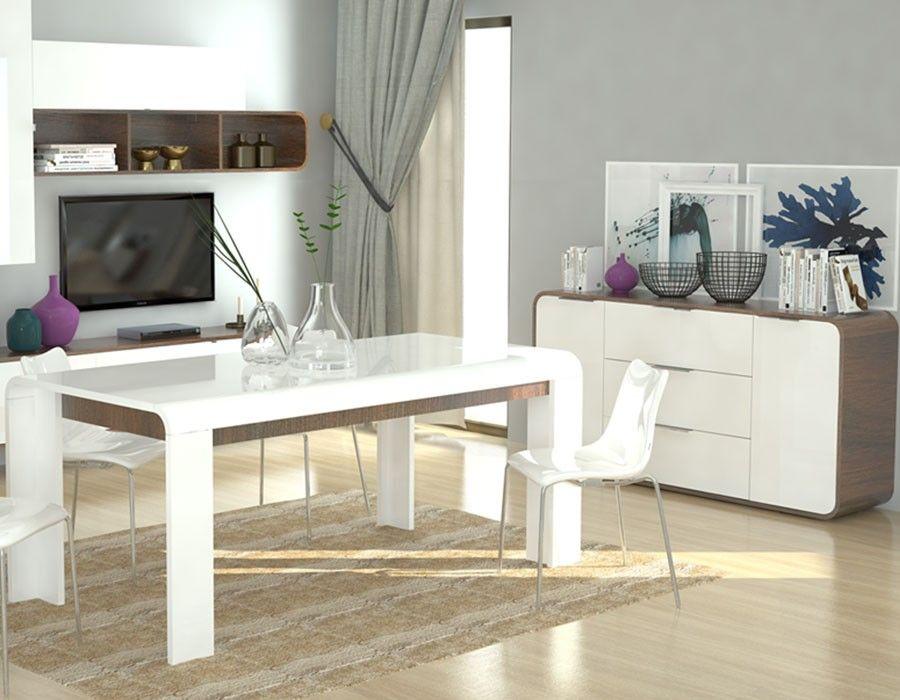 Salle a manger moderne blanc laqué et couleur bois HAWAI Salle a