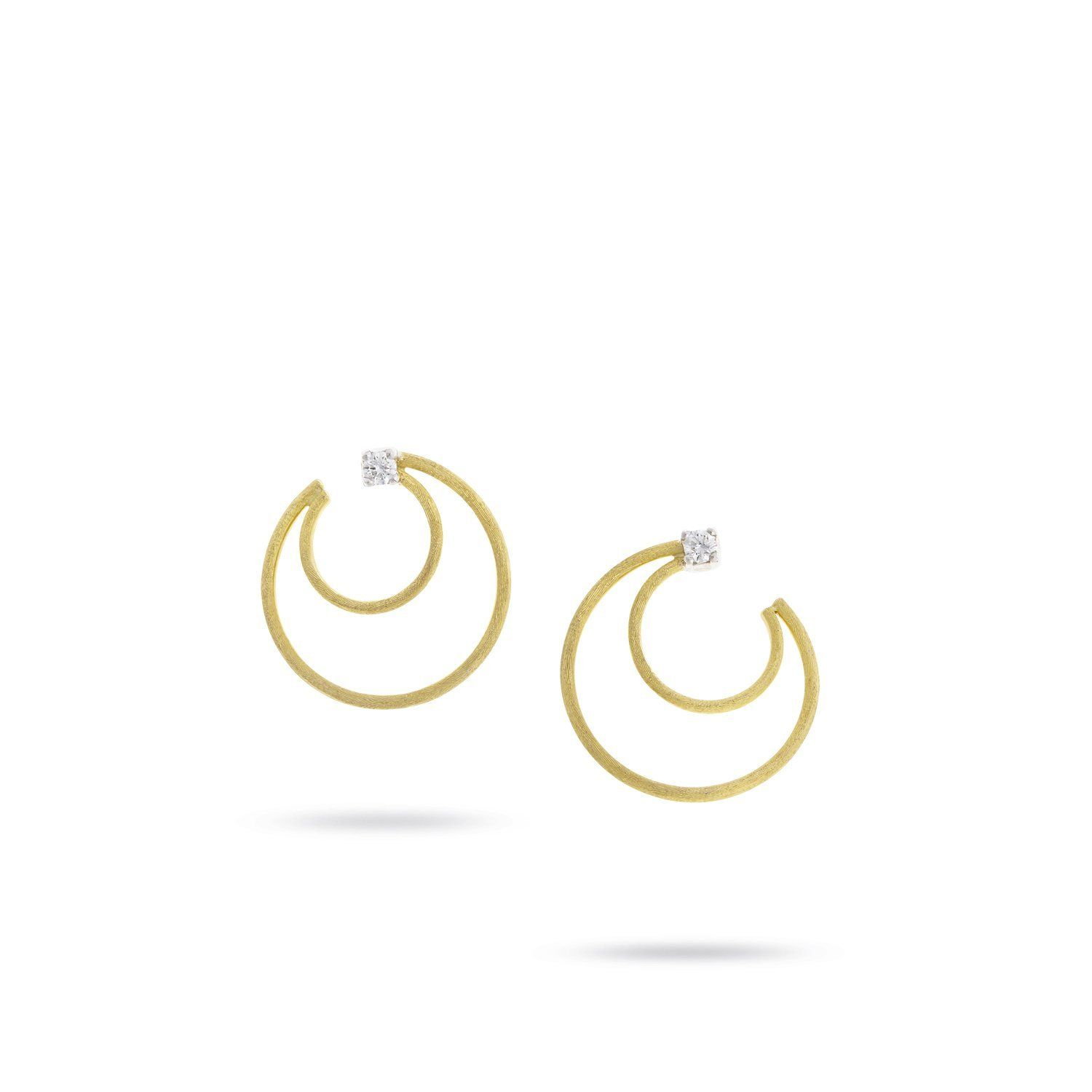Luce Yellow Gold & Diamond Crescent Hoop Earrings