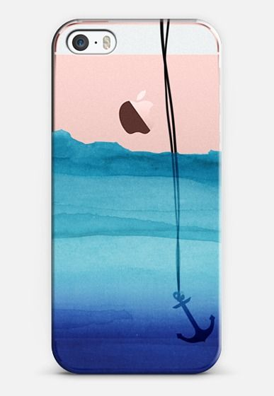 554b7b26dcc Watercolor Ocean Blue Gradient Nautical Anchor on Transparent Background  iPhone SE case by BlackStrawberry | @casetify