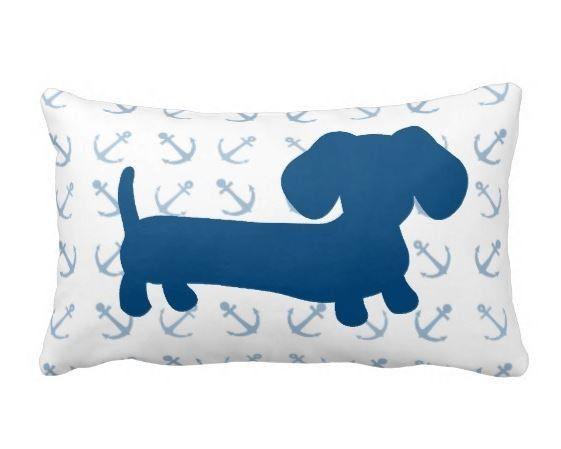 Nautical Dachshund Pillow