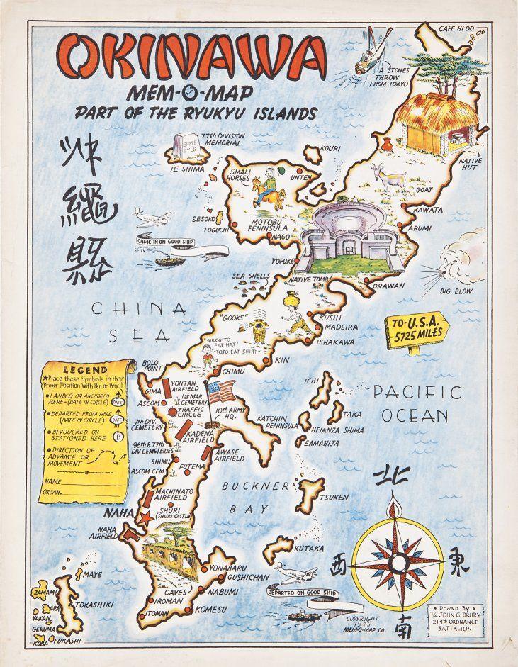 John G Drury Okinawa Mem O Map 1945 Cartography
