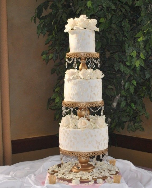 Wedding Ideas Vogue: Victorian Style Gold And Ivory Wedding Cake By The Cake