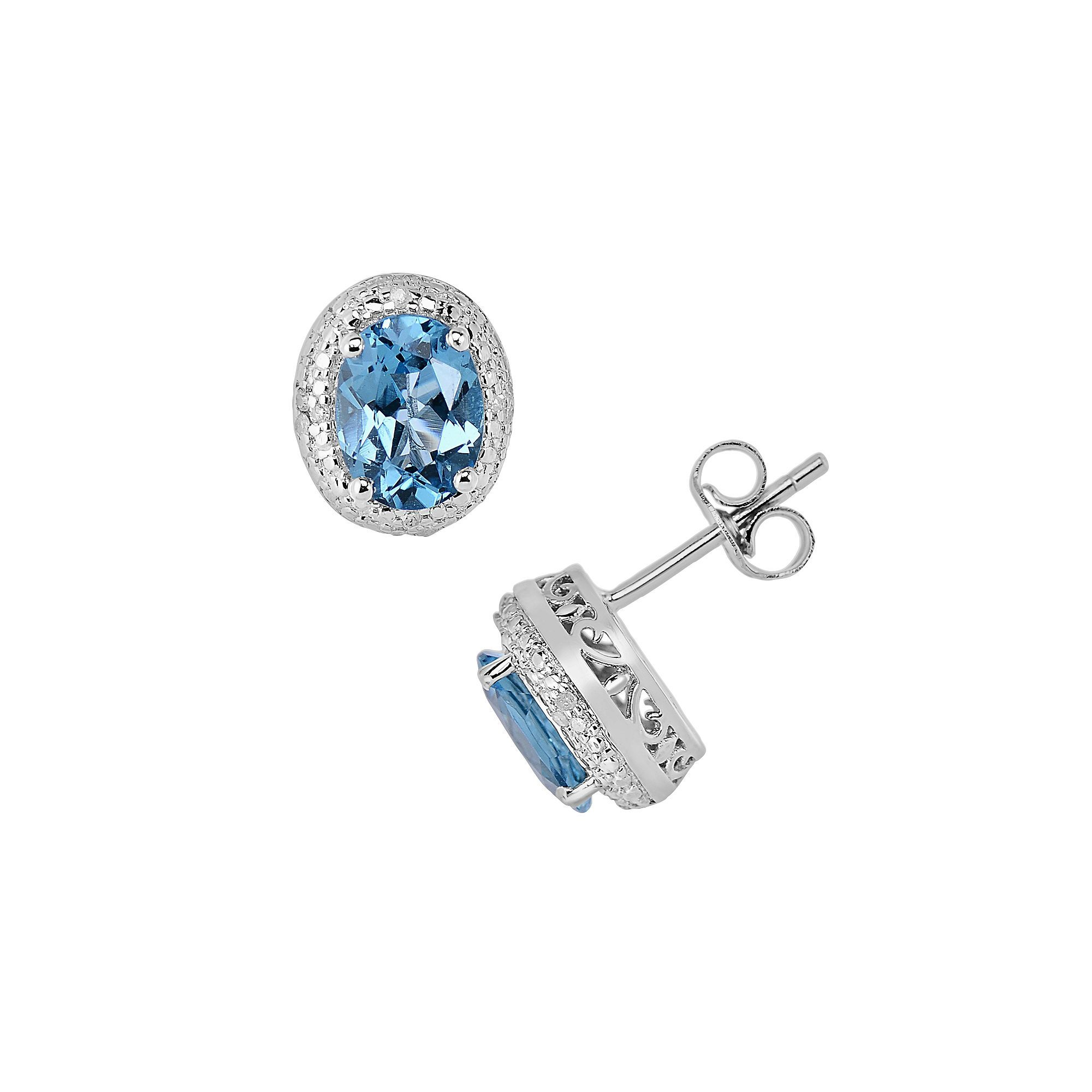 Sterling Silver Blue Topaz and Diamond Accent Oval Halo Stud