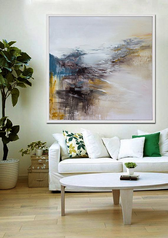 Hand Made Abstract Art Acrylic Painting Large Canvas Living Room Wall Oil Blue Yellow Black White Brown