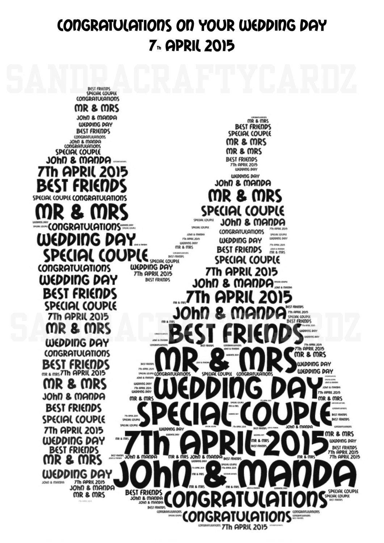 Wedding Couple Personalised Gift Word Art Print Only Wedding