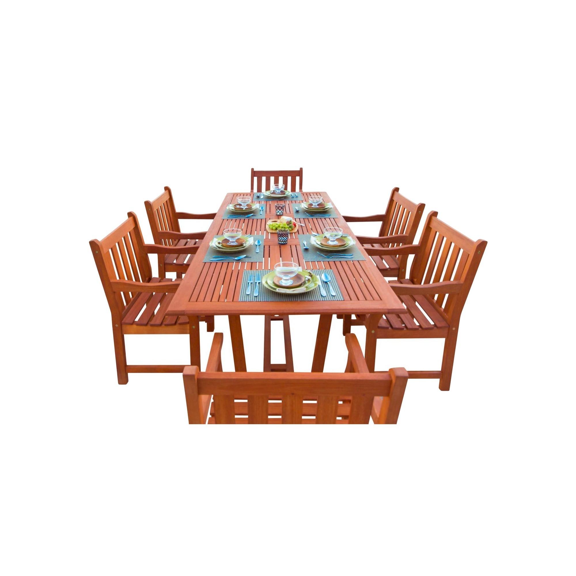 Vifah 7 Piece English Garden Dining Set 1 with Rectangular