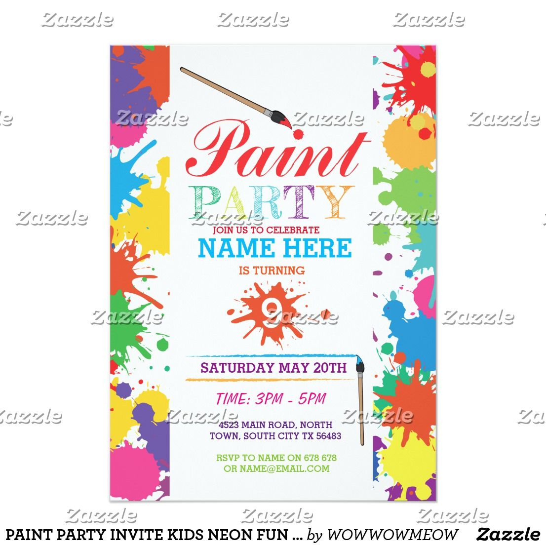 Paint party invite kids neon fun art ink birthday | Mom and Kids ...