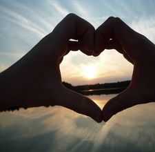 Heart-framed sunset