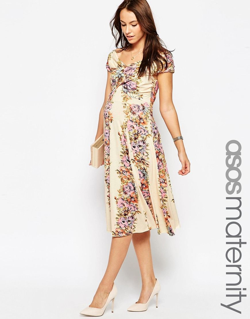 Image 1 of asos maternity midi skater dress with twist off image 1 of asos maternity midi skater dress with twist off shoulder in vintage floral print ombrellifo Gallery