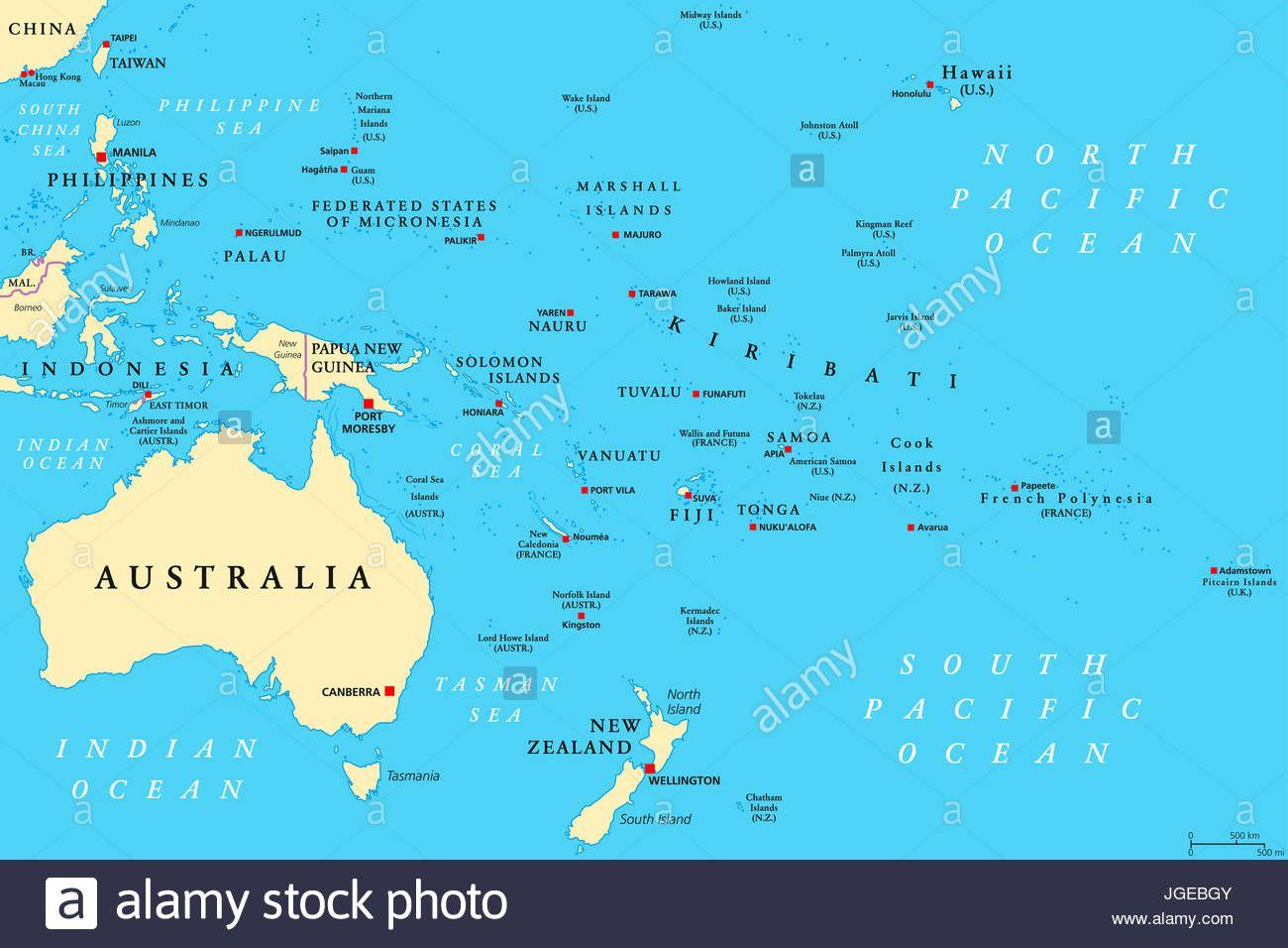 Mapa Politico De Oceania Region Centrado En Islas Del