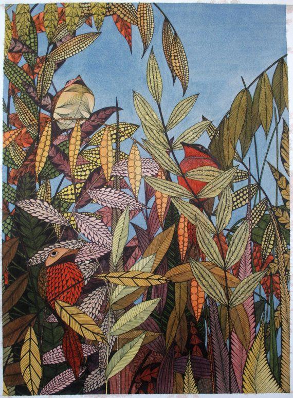 Migratory Birds Painting, Watercolor Art, Archival Print